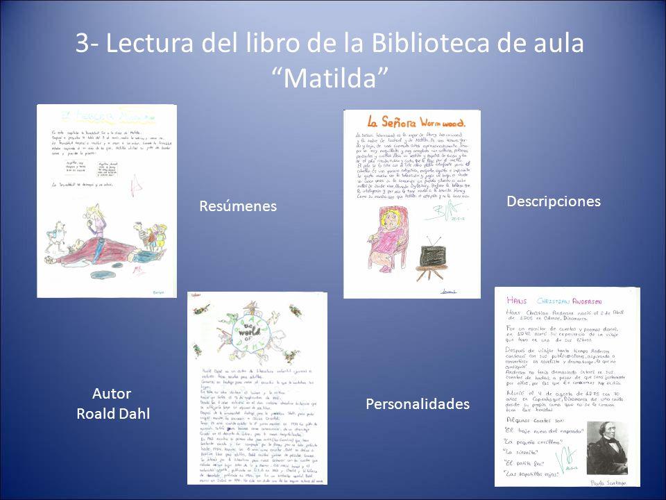 3- Lectura del libro de la Biblioteca de aula Matilda Resúmenes Descripciones Autor Roald Dahl Personalidades