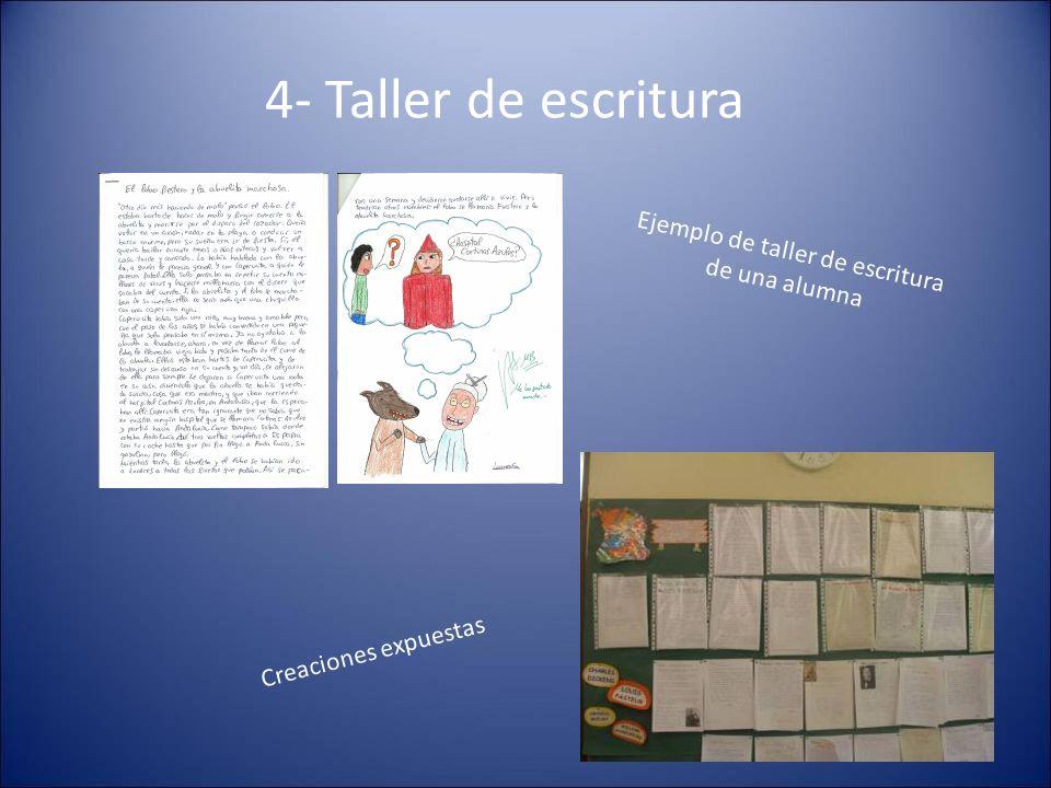 4- Taller de escritura Ejemplo de taller de escritura de una alumna Creaciones expuestas