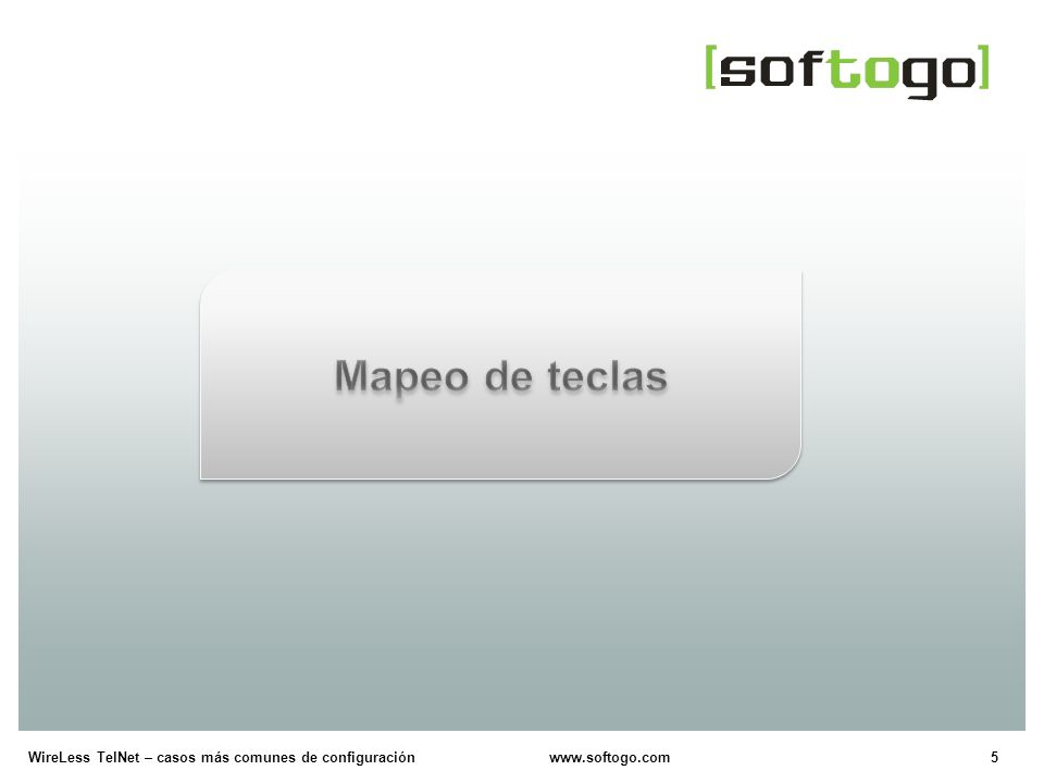 26WireLess TelNet – casos más comunes de configuración www.softogo.com Editar lectura de códigos de barras Configuración (en el archivo de configuración genérica) [BC_EDIT_X] On= TIP.
