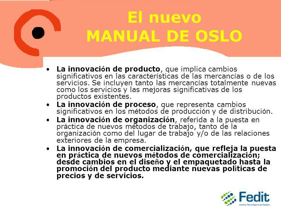 El nuevo MANUAL DE OSLO La innovaci ó n de producto, que implica cambios significativos en las caracter í sticas de las mercanc í as o de los servicios.
