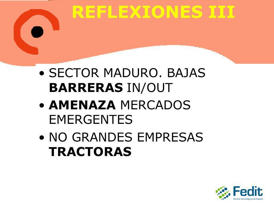 REFLEXIONES III SECTOR MADURO. BAJAS BARRERAS IN/OUT AMENAZA MERCADOS EMERGENTES NO GRANDES EMPRESAS TRACTORAS