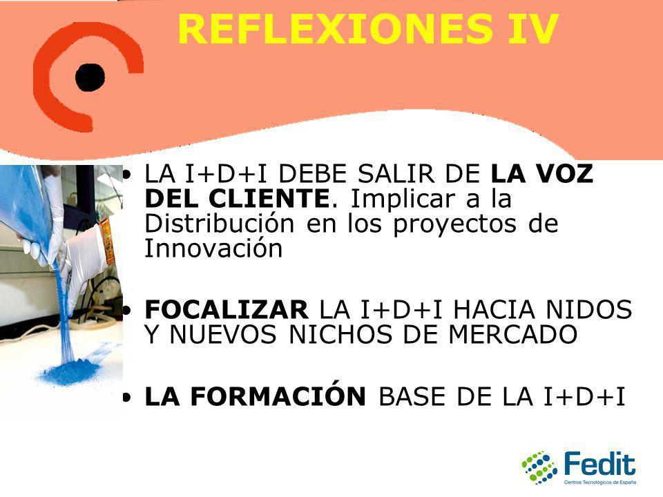 REFLEXIONES IV LA I+D+I DEBE SALIR DE LA VOZ DEL CLIENTE. Implicar a la Distribución en los proyectos de Innovación FOCALIZAR LA I+D+I HACIA NIDOS Y N