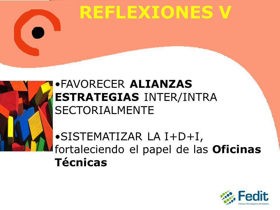 FAVORECER ALIANZAS ESTRATEGIAS INTER/INTRA SECTORIALMENTE SISTEMATIZAR LA I+D+I, fortaleciendo el papel de las Oficinas Técnicas REFLEXIONES V