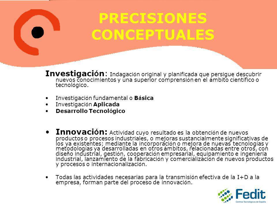 PRECISIONES CONCEPTUALES Investigaci ó n: Indagaci ó n original y planificada que persigue descubrir nuevos conocimientos y una superior comprensi ó n