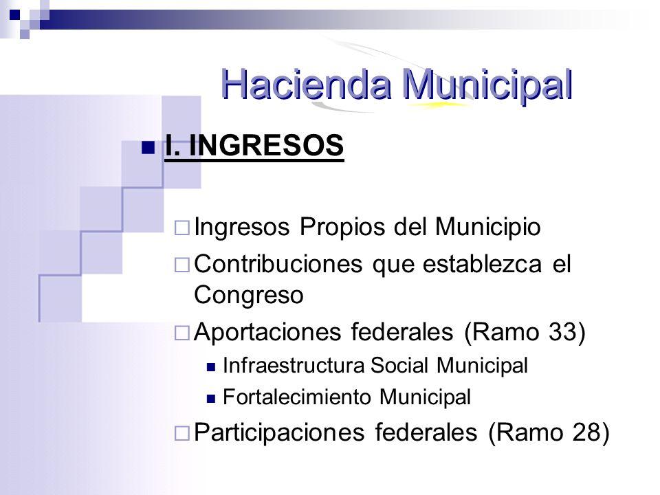 I. INGRESOS Ingresos Propios del Municipio Contribuciones que establezca el Congreso Aportaciones federales (Ramo 33) Infraestructura Social Municipal