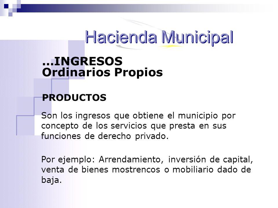 Son los ingresos que obtiene el municipio por concepto de los servicios que presta en sus funciones de derecho privado. Por ejemplo: Arrendamiento, in