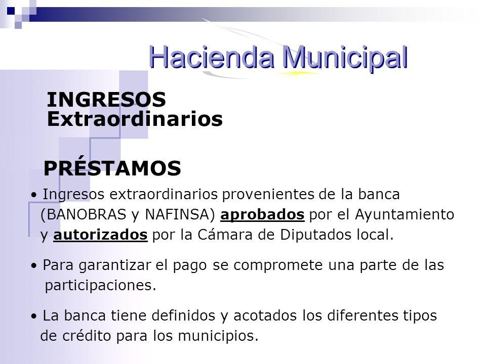 INGRESOS Extraordinarios PRÉSTAMOS Ingresos extraordinarios provenientes de la banca (BANOBRAS y NAFINSA) aprobados por el Ayuntamiento y autorizados