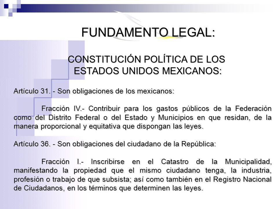 CONSTITUCIÓN POLÍTICA DE LOS ESTADOS UNIDOS MEXICANOS: ESTADOS UNIDOS MEXICANOS: Artículo 31. - Son obligaciones de los mexicanos: Fracción IV.- Contr