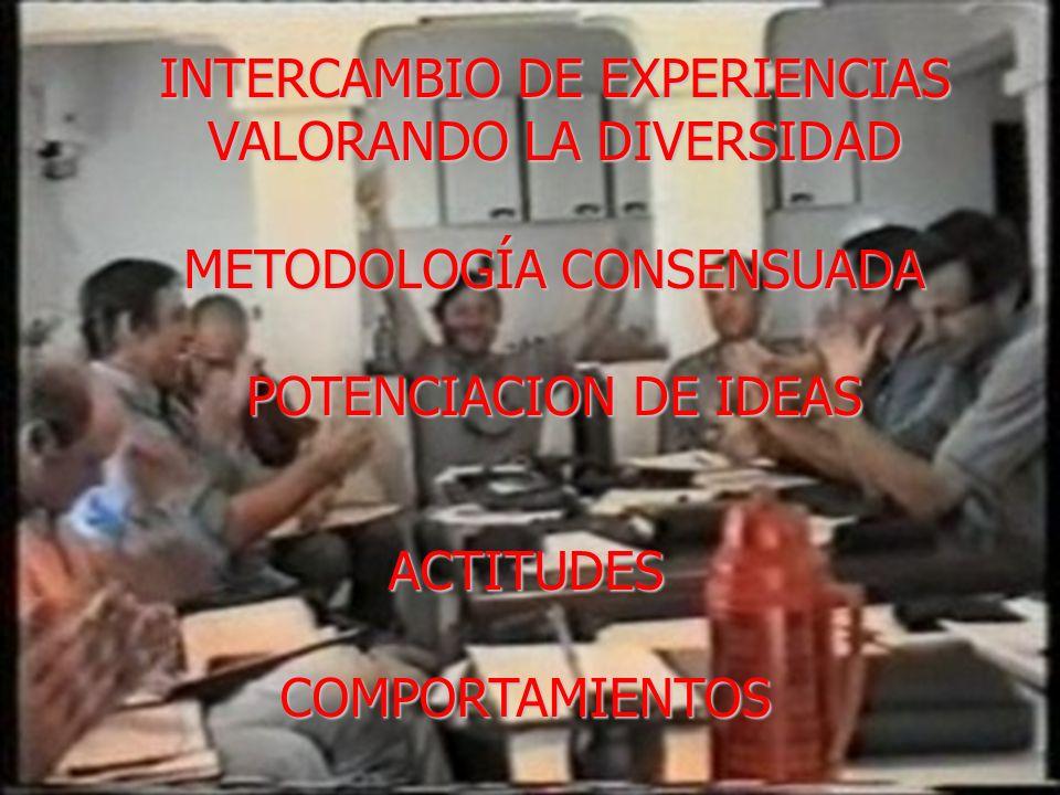 INTERCAMBIO DE EXPERIENCIAS VALORANDO LA DIVERSIDAD METODOLOGÍA CONSENSUADA POTENCIACION DE IDEAS ACTITUDESCOMPORTAMIENTOS