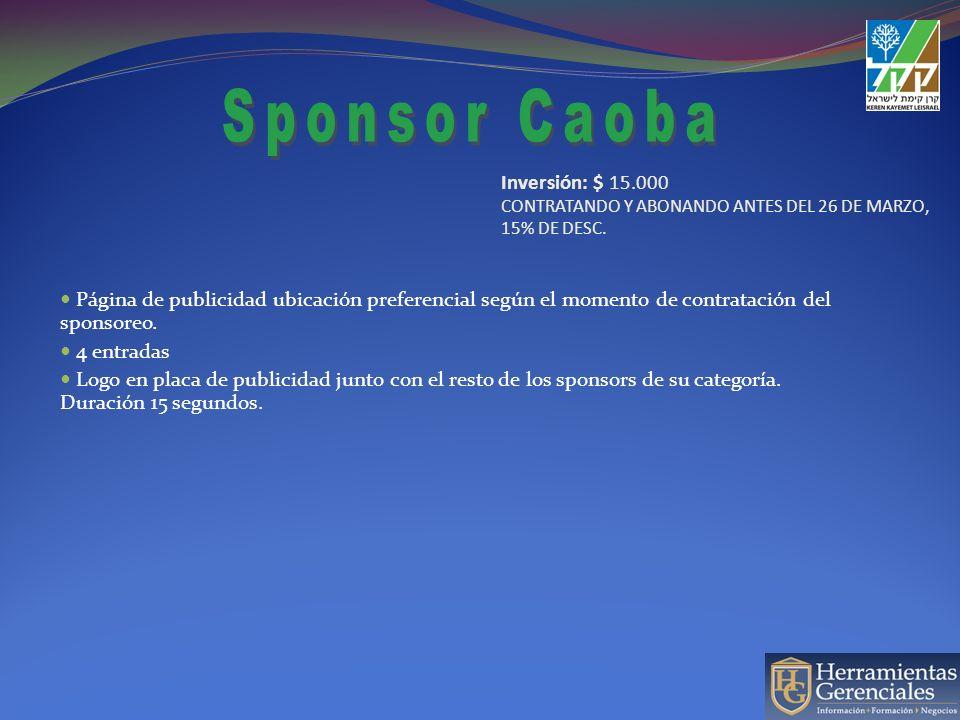 Página de publicidad ubicación preferencial según el momento de contratación del sponsoreo. 4 entradas Logo en placa de publicidad junto con el resto
