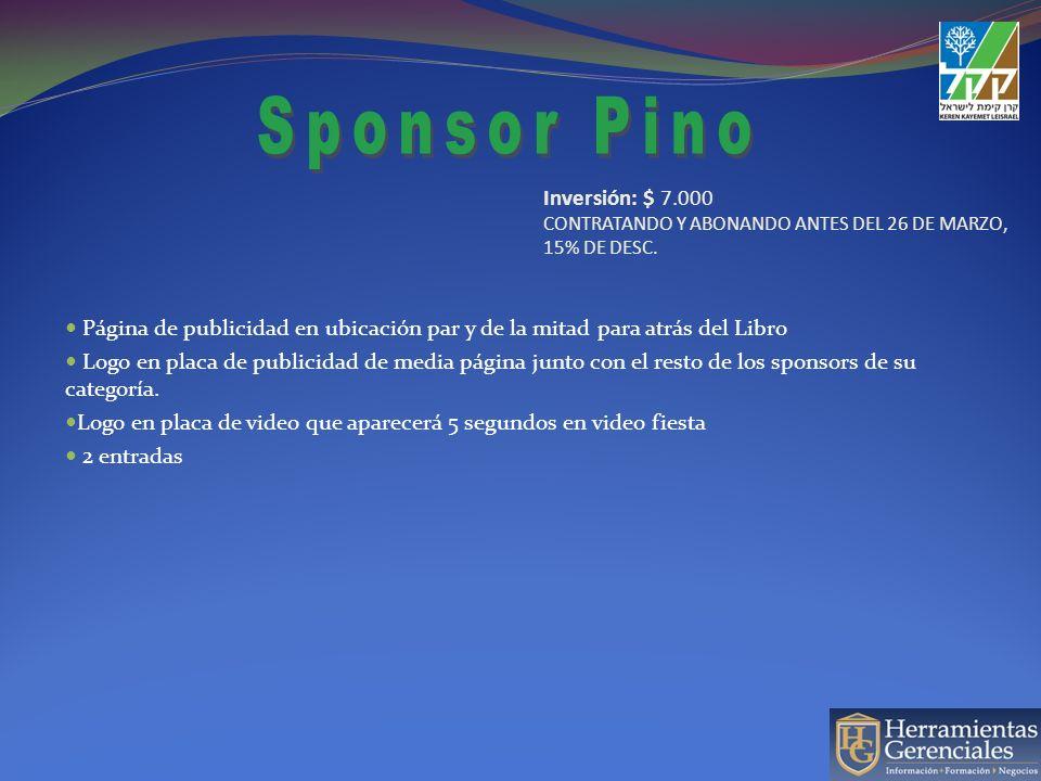 Página de publicidad en ubicación par y de la mitad para atrás del Libro Logo en placa de publicidad de media página junto con el resto de los sponsor