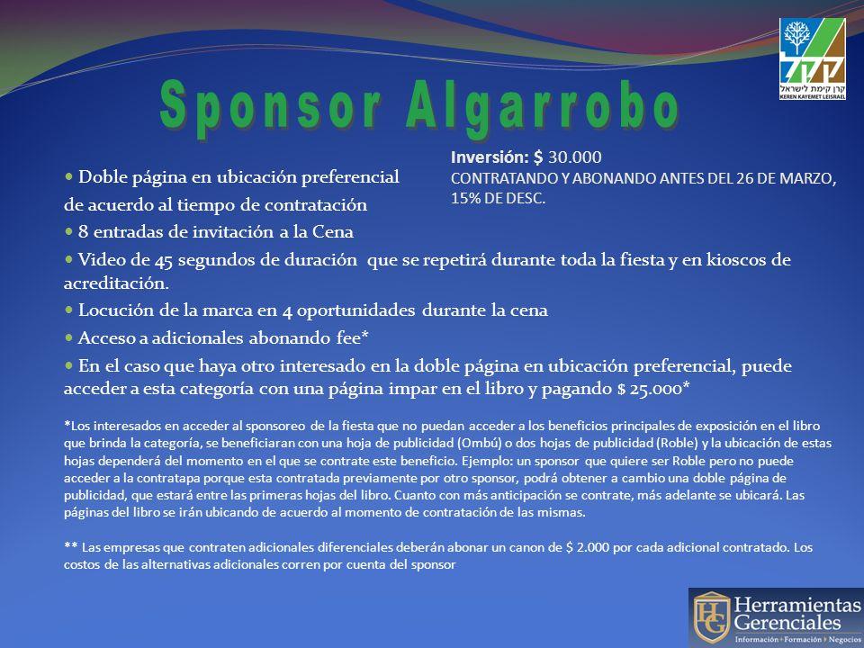 Inversión: $ 30.000 CONTRATANDO Y ABONANDO ANTES DEL 26 DE MARZO, 15% DE DESC. Doble página en ubicación preferencial de acuerdo al tiempo de contrata