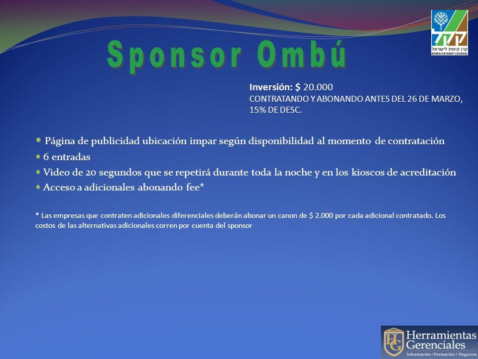 Página de publicidad ubicación preferencial según el momento de contratación del sponsoreo.