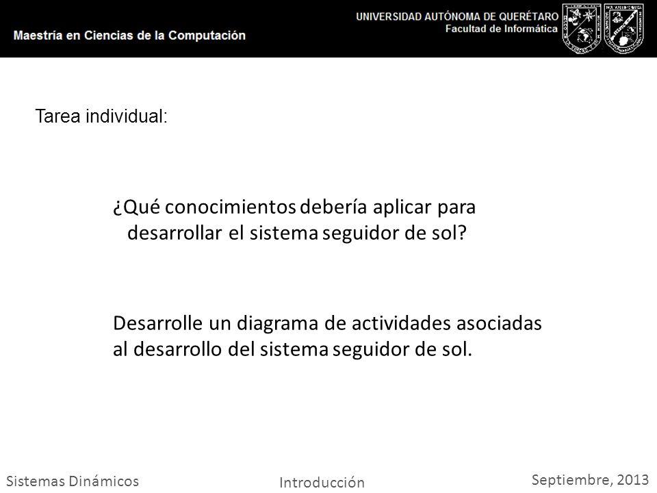 Sistemas Dinámicos Introducción Septiembre, 2013 Tarea individual: ¿Qué conocimientos debería aplicar para desarrollar el sistema seguidor de sol.