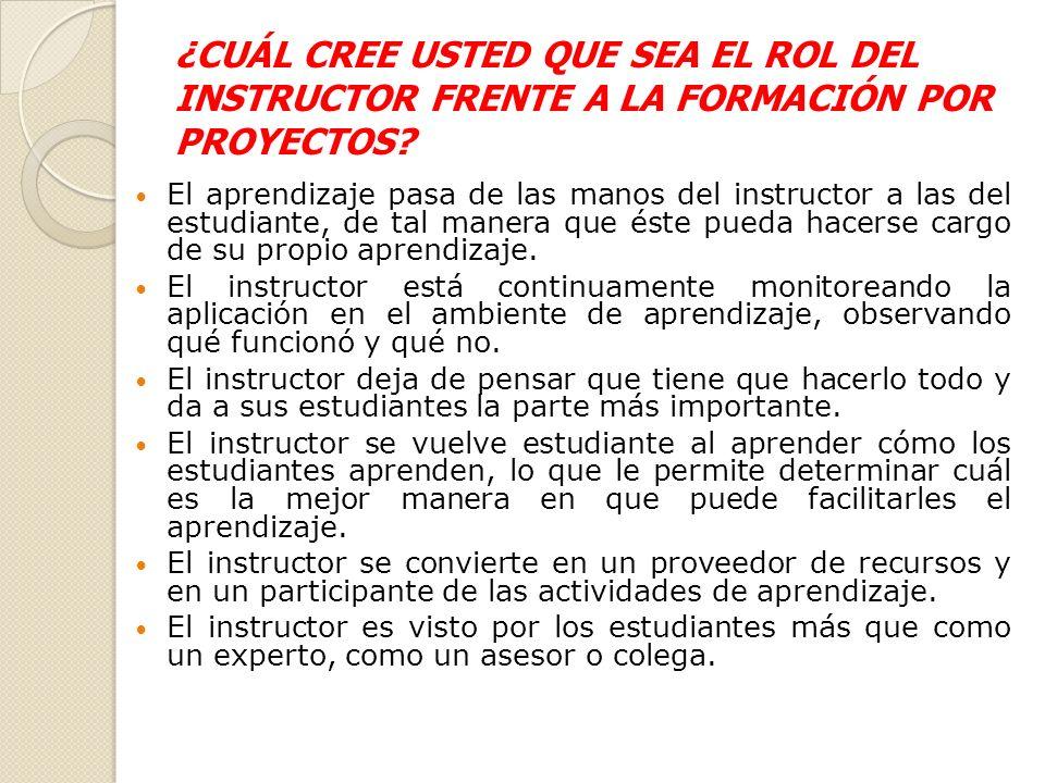 ¿CUÁL CREE USTED QUE SEA EL ROL DEL INSTRUCTOR FRENTE A LA FORMACIÓN POR PROYECTOS.