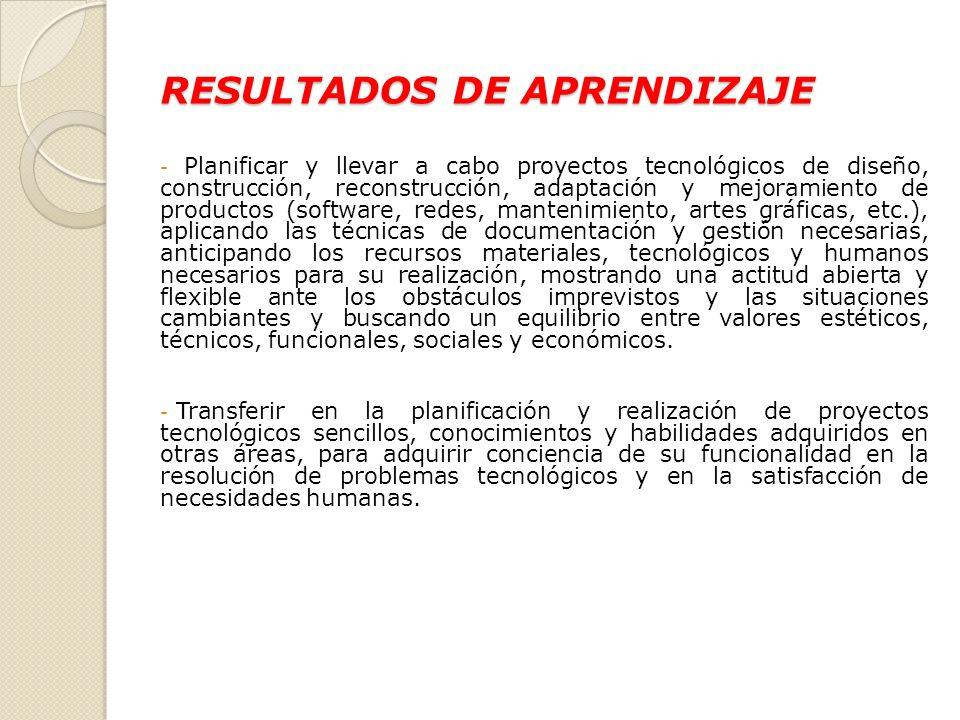 RESULTADOS DE APRENDIZAJE - Planificar y llevar a cabo proyectos tecnológicos de diseño, construcción, reconstrucción, adaptación y mejoramiento de pr