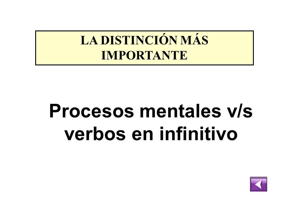 LA DISTINCIÓN MÁS IMPORTANTE Procesos mentales v/s verbos en infinitivo