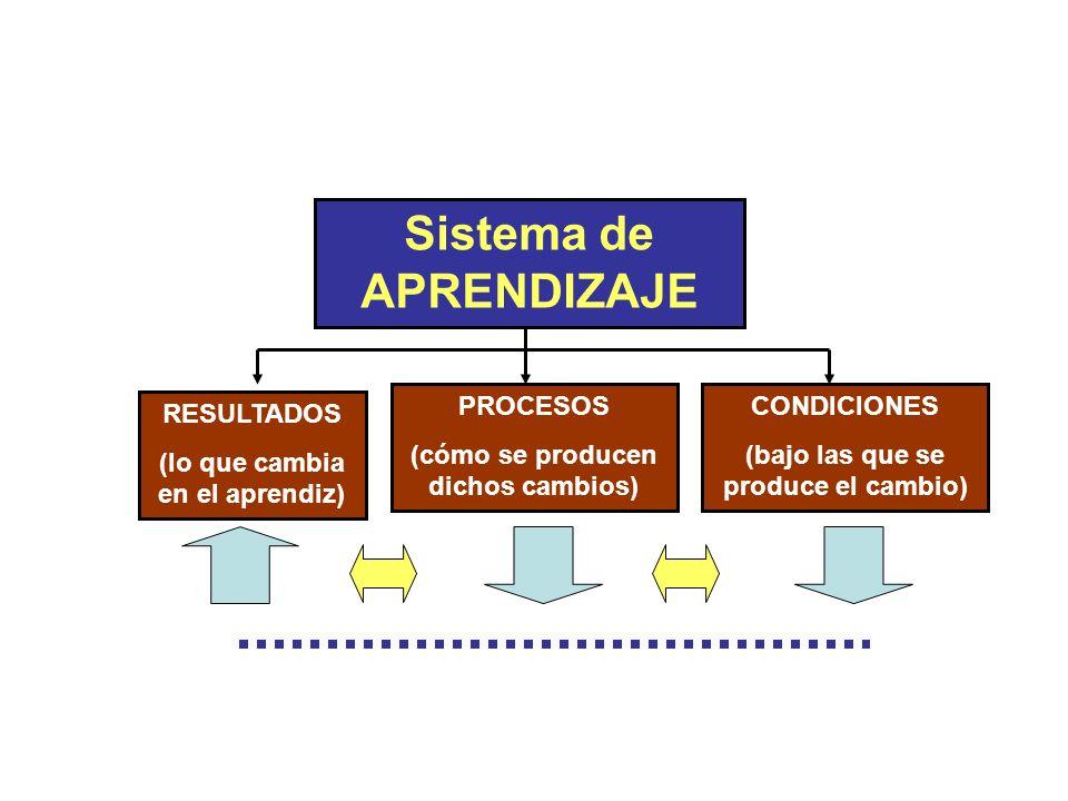 RESULTADOS (lo que cambia en el aprendiz) PROCESOS (cómo se producen dichos cambios) CONDICIONES (bajo las que se produce el cambio) Sistema de APREND