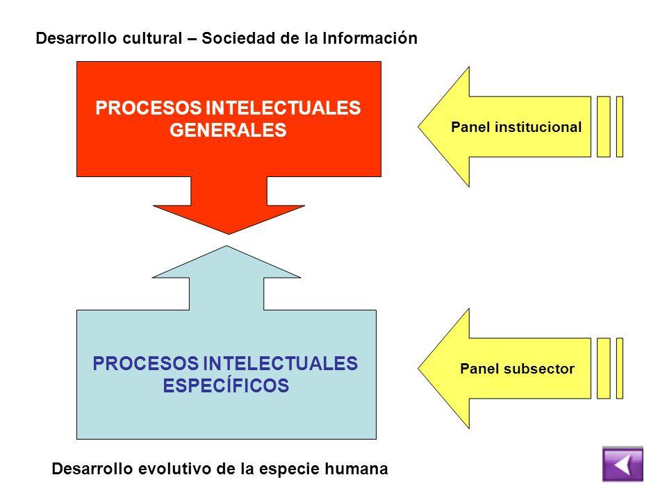 PROCESOS INTELECTUALES GENERALES PROCESOS INTELECTUALES ESPECÍFICOS Desarrollo evolutivo de la especie humana Desarrollo cultural – Sociedad de la Inf