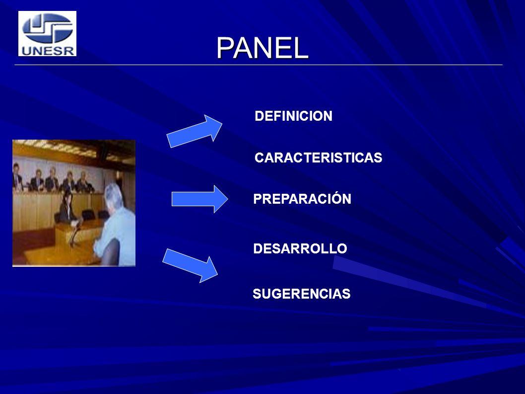PANEL DEFINICION CARACTERISTICAS SUGERENCIAS PREPARACIÓN DESARROLLO