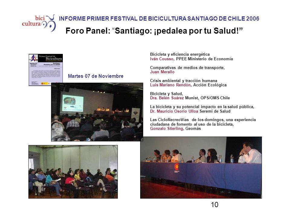 10 INFORME PRIMER FESTIVAL DE BICICULTURA SANTIAGO DE CHILE 2006 Foro Panel: Santiago: ¡pedalea por tu Salud! Bicicleta y eficiencia energética Iván C