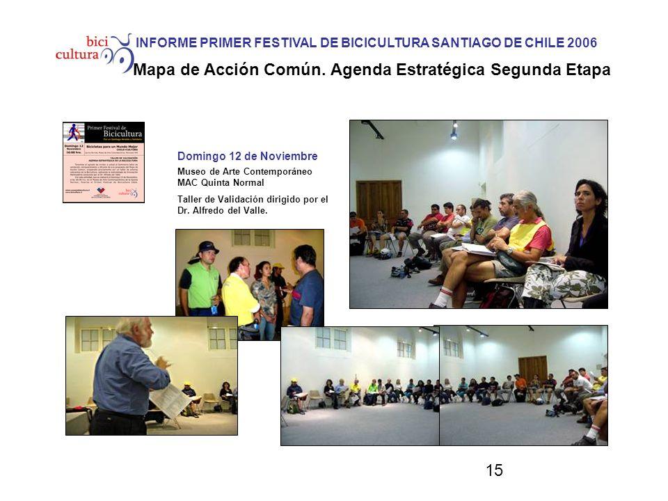 15 Domingo 12 de Noviembre INFORME PRIMER FESTIVAL DE BICICULTURA SANTIAGO DE CHILE 2006 Mapa de Acción Común. Agenda Estratégica Segunda Etapa Museo