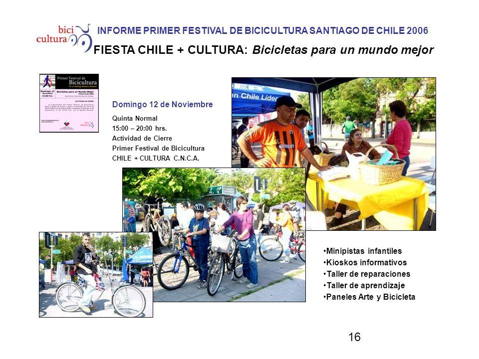 16 INFORME PRIMER FESTIVAL DE BICICULTURA SANTIAGO DE CHILE 2006 FIESTA CHILE + CULTURA: Bicicletas para un mundo mejor Domingo 12 de Noviembre Quinta Normal 15:00 – 20:00 hrs.