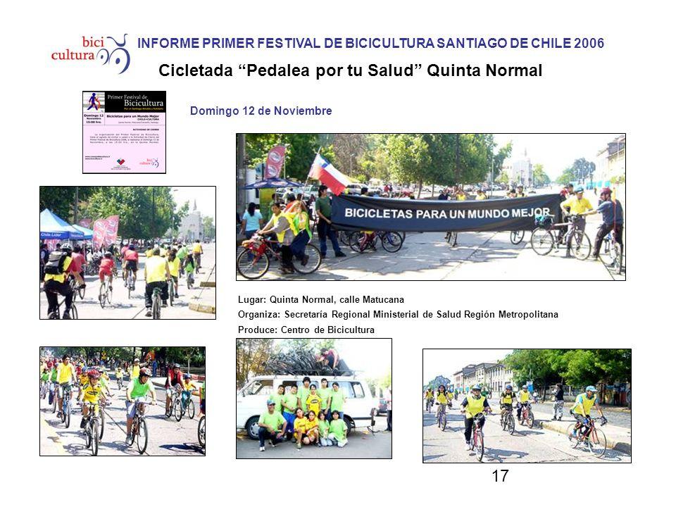 17 Domingo 12 de Noviembre Lugar: Quinta Normal, calle Matucana Organiza: Secretaría Regional Ministerial de Salud Región Metropolitana Produce: Centr