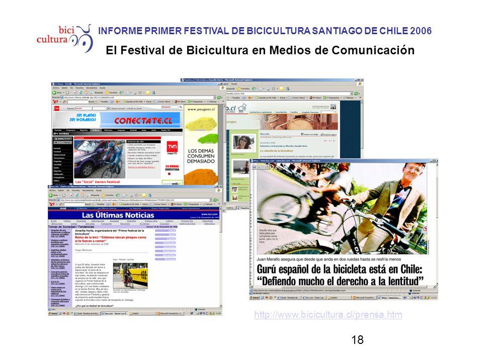 18 INFORME PRIMER FESTIVAL DE BICICULTURA SANTIAGO DE CHILE 2006 El Festival de Bicicultura en Medios de Comunicación http://www.bicicultura.cl/prensa.htm