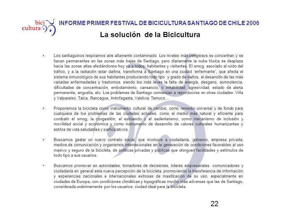 22 INFORME PRIMER FESTIVAL DE BICICULTURA SANTIAGO DE CHILE 2006 La solución de la Bicicultura Los santiaguinos respiramos aire altamente contaminado.