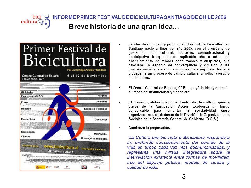 3 INFORME PRIMER FESTIVAL DE BICICULTURA SANTIAGO DE CHILE 2006 Breve historia de una gran idea... La idea de organizar y producir un Festival de Bici