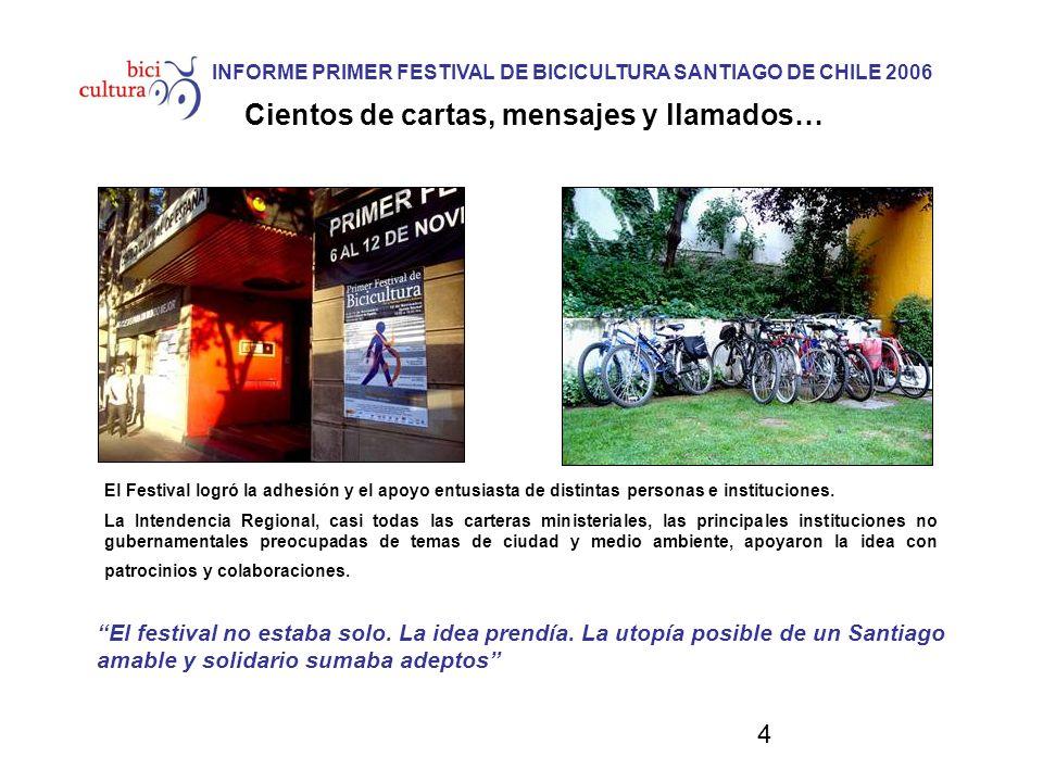 4 INFORME PRIMER FESTIVAL DE BICICULTURA SANTIAGO DE CHILE 2006 Cientos de cartas, mensajes y llamados… El Festival logró la adhesión y el apoyo entusiasta de distintas personas e instituciones.