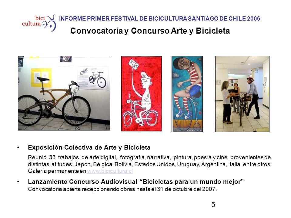 5 INFORME PRIMER FESTIVAL DE BICICULTURA SANTIAGO DE CHILE 2006 Convocatoria y Concurso Arte y Bicicleta Exposición Colectiva de Arte y Bicicleta Reun