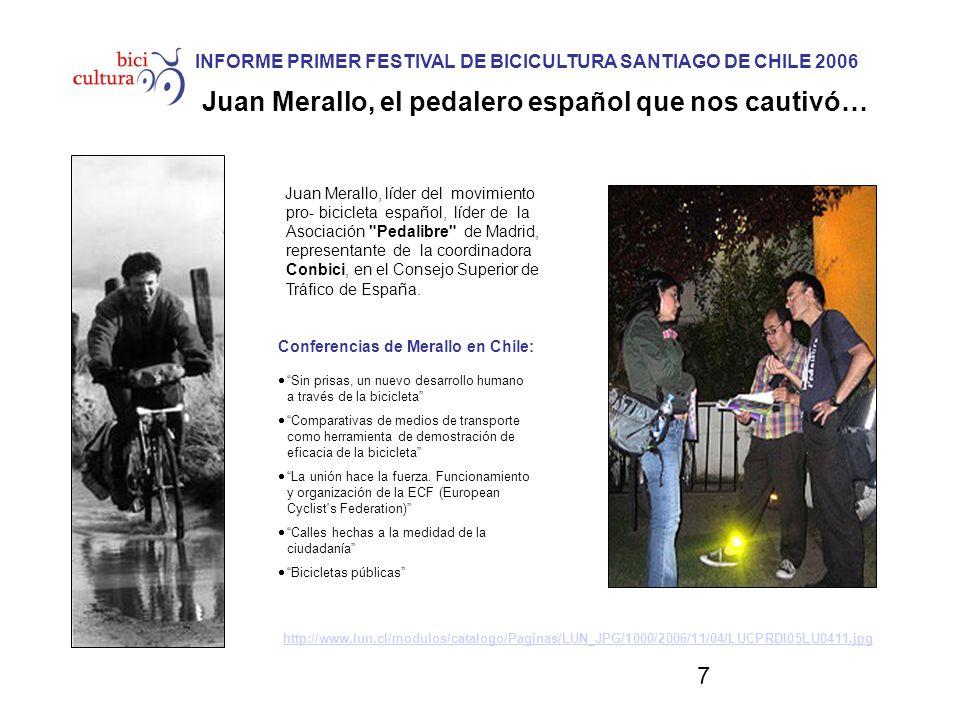 7 Juan Merallo, líder del movimiento pro- bicicleta español, líder de la Asociación Pedalibre de Madrid, representante de la coordinadora Conbici, en el Consejo Superior de Tráfico de España.