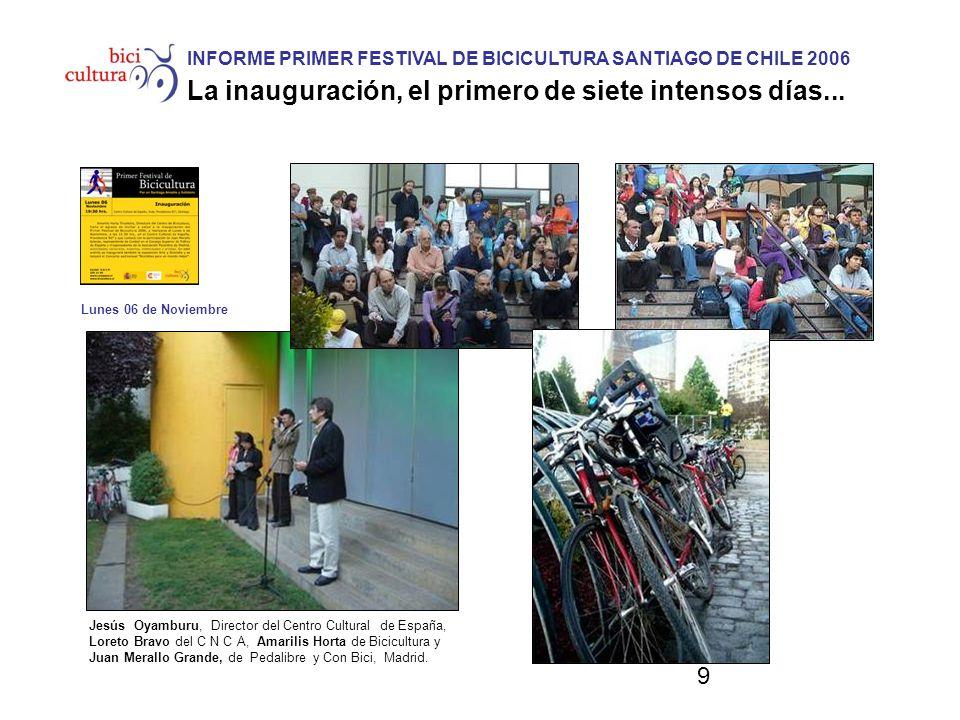 9 INFORME PRIMER FESTIVAL DE BICICULTURA SANTIAGO DE CHILE 2006 La inauguración, el primero de siete intensos días... Jesús Oyamburu, Director del Cen