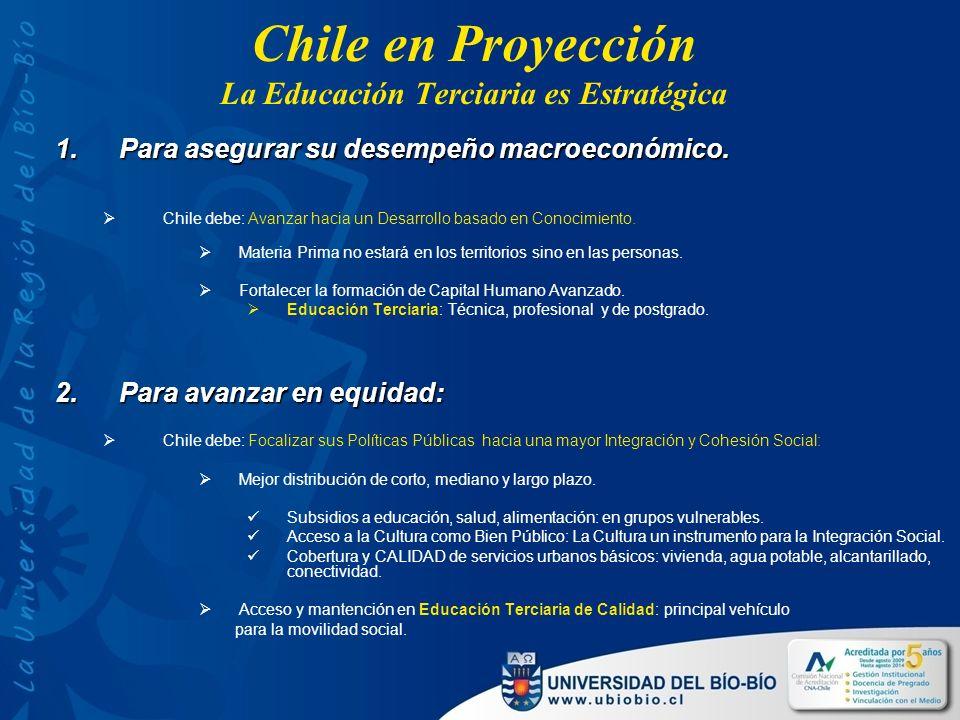 Chile en Proyección La Educación Terciaria es Estratégica 1.Para asegurar su desempeño macroeconómico.