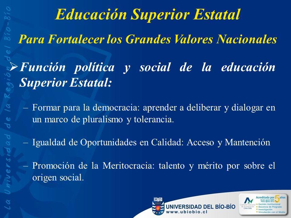 Función política y social de la educación Superior Estatal: –Formar para la democracia: aprender a deliberar y dialogar en un marco de pluralismo y tolerancia.