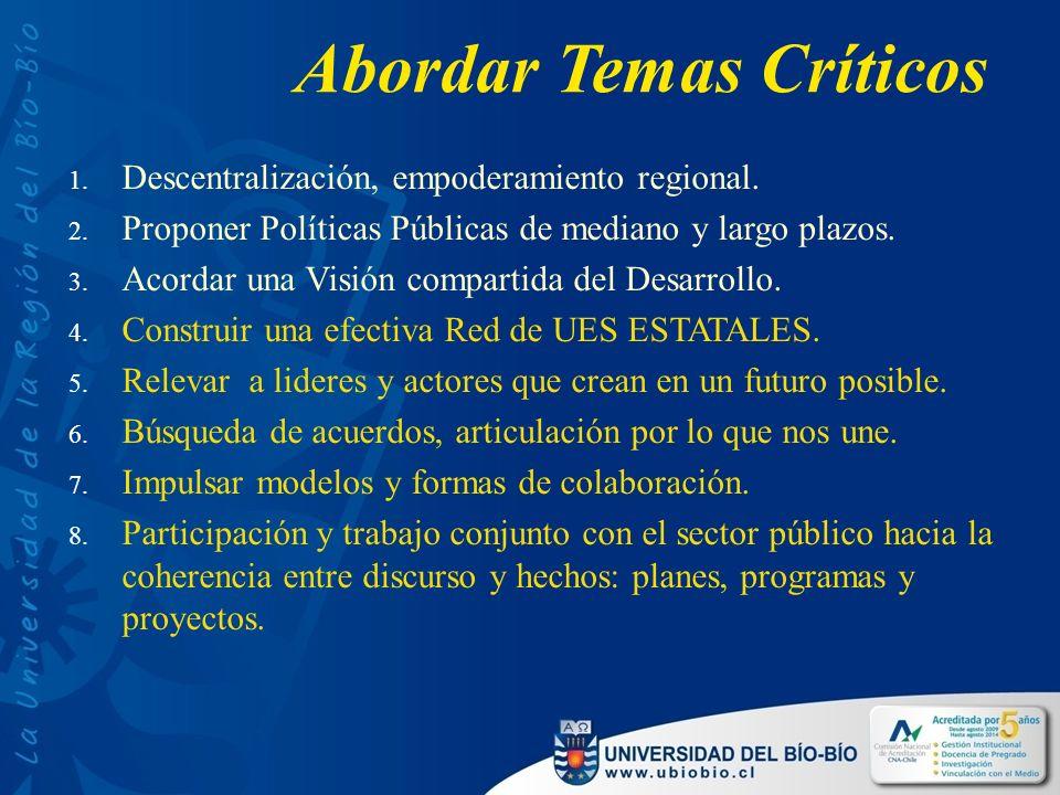 Abordar Temas Críticos 1. Descentralización, empoderamiento regional.