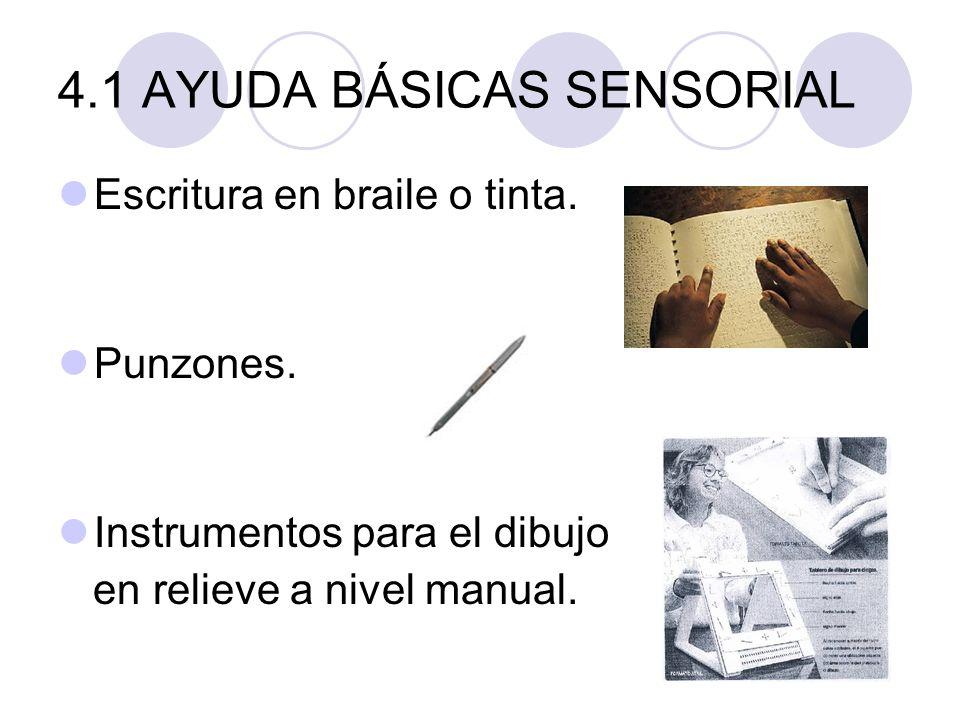 4.1 AYUDA BÁSICAS SENSORIAL Escritura en braile o tinta. Punzones. Instrumentos para el dibujo en relieve a nivel manual.