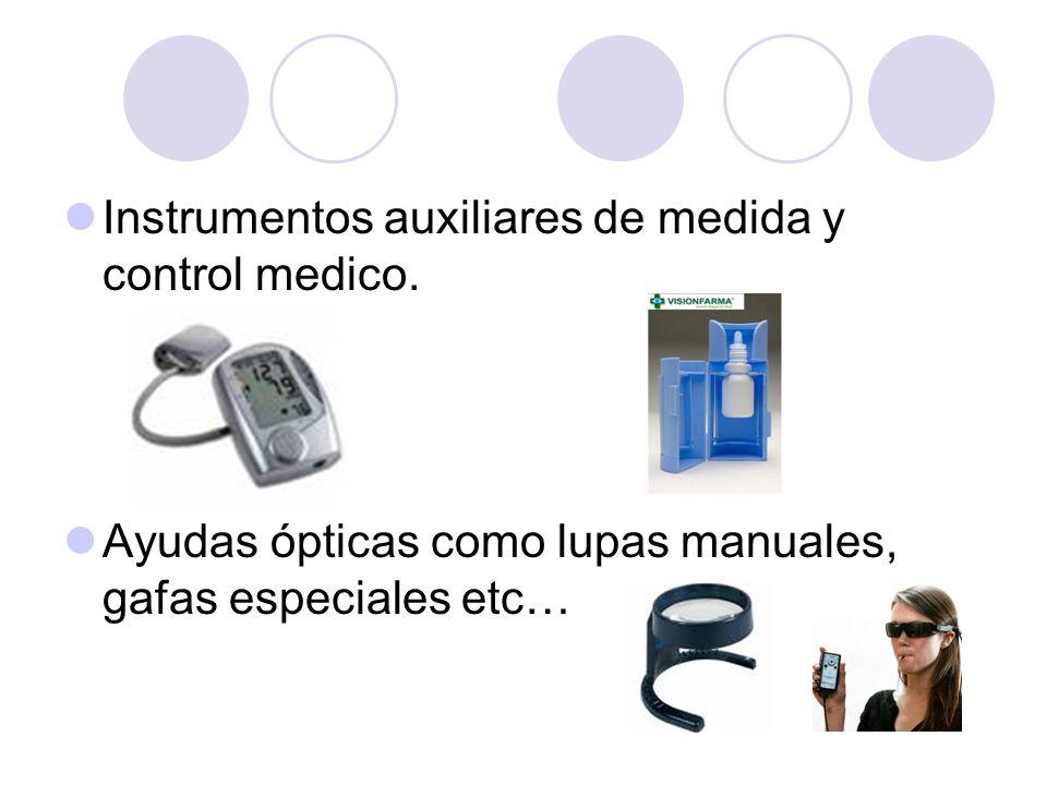 Instrumentos auxiliares de medida y control medico. Ayudas ópticas como lupas manuales, gafas especiales etc…