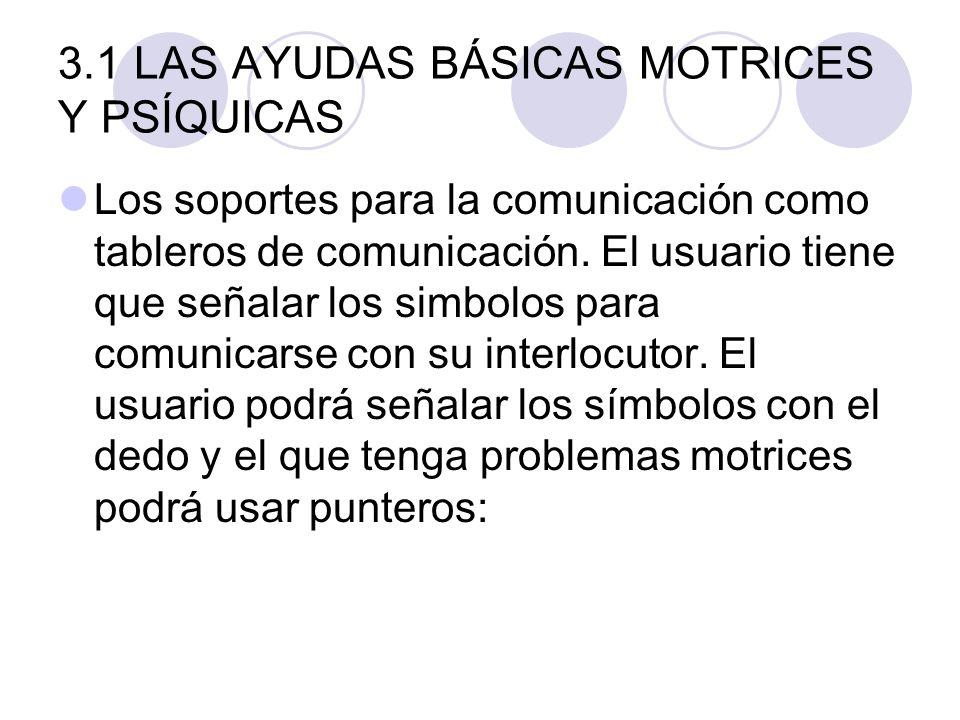 3.1 LAS AYUDAS BÁSICAS MOTRICES Y PSÍQUICAS Los soportes para la comunicación como tableros de comunicación. El usuario tiene que señalar los simbolos
