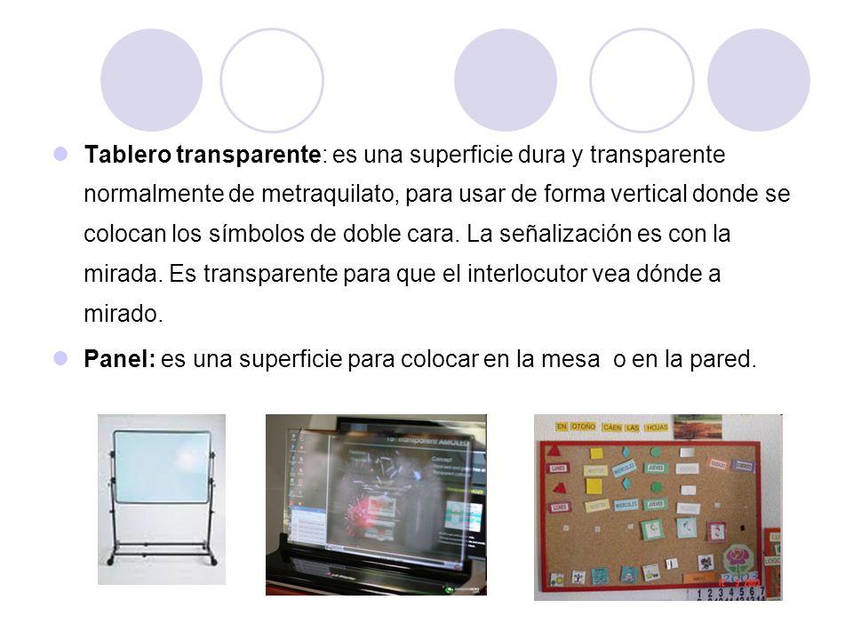 Tablero transparente: es una superficie dura y transparente normalmente de metraquilato, para usar de forma vertical donde se colocan los símbolos de