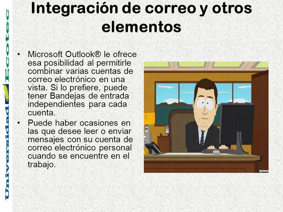 Integración de correo y otros elementos Microsoft Outlook® le ofrece esa posibilidad al permitirle combinar varias cuentas de correo electrónico en una vista.