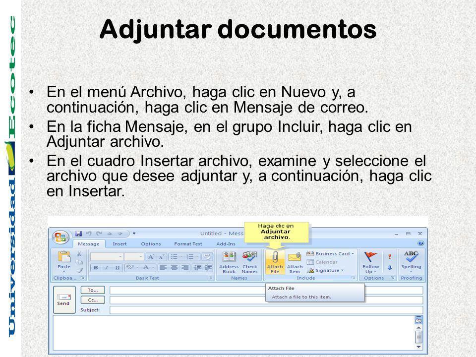 Adjuntar documentos En el menú Archivo, haga clic en Nuevo y, a continuación, haga clic en Mensaje de correo. En la ficha Mensaje, en el grupo Incluir