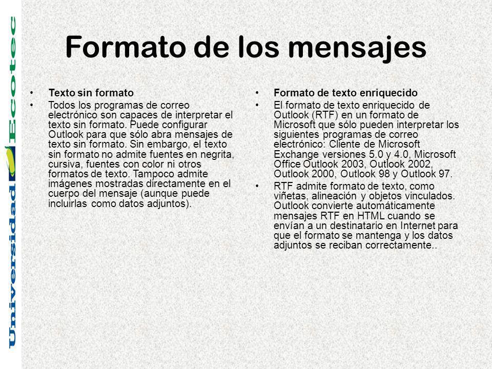 Formato de los mensajes Texto sin formato Todos los programas de correo electrónico son capaces de interpretar el texto sin formato. Puede configurar
