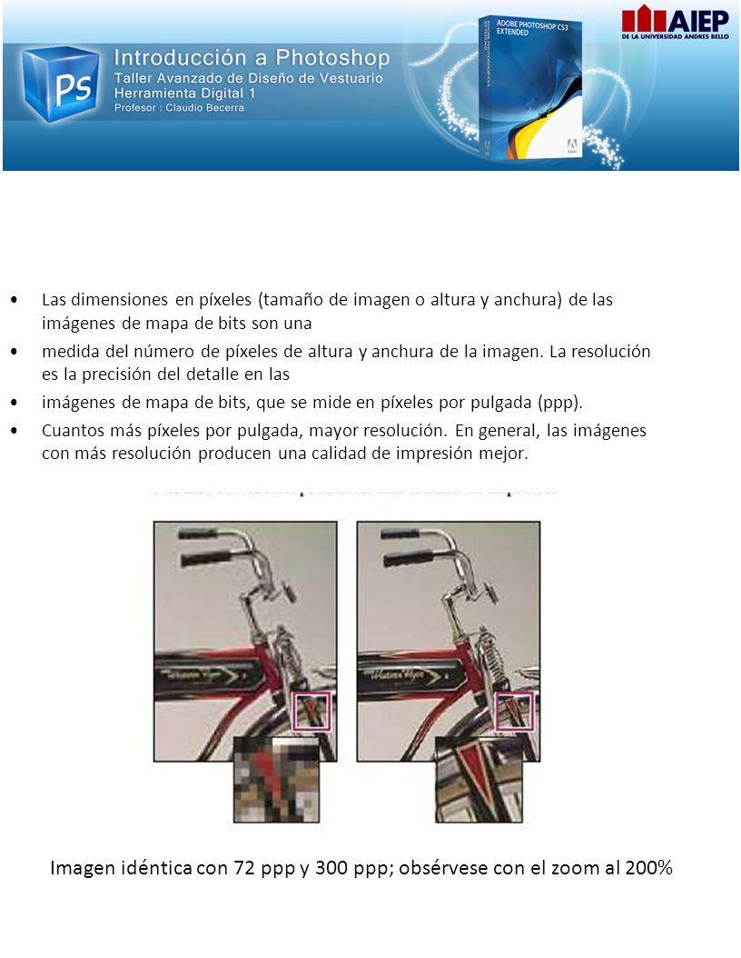 Resolución de las Imágenes Las dimensiones en píxeles (tamaño de imagen o altura y anchura) de las imágenes de mapa de bits son una medida del número de píxeles de altura y anchura de la imagen.