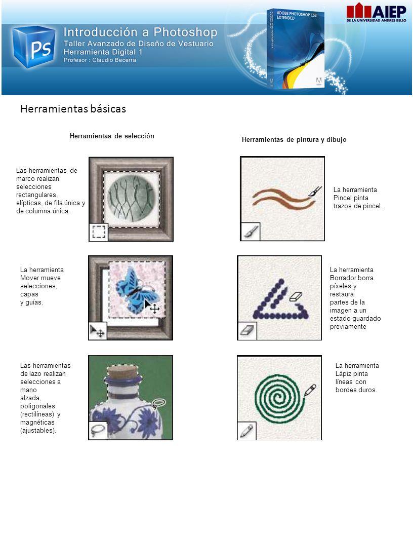 Herramientas básicas Herramientas de selección Herramientas de pintura y dibujo Las herramientas de marco realizan selecciones rectangulares, elípticas, de fila única y de columna única.