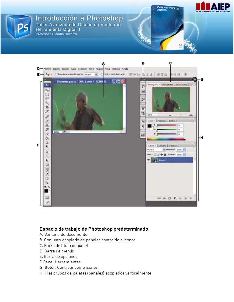 Espacio de trabajo de Photoshop predeterminado A. Ventana de documento B. Conjunto acoplado de paneles contraído a iconos C. Barra de título de panel