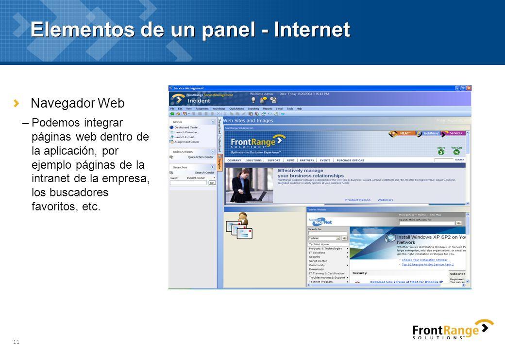11 Elementos de un panel - Internet Navegador Web –Podemos integrar páginas web dentro de la aplicación, por ejemplo páginas de la intranet de la empr
