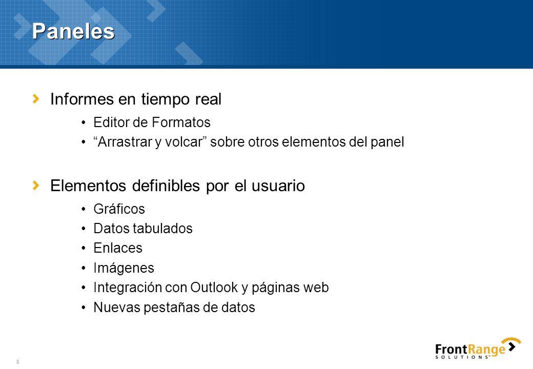 3 Paneles Informes en tiempo real Editor de Formatos Arrastrar y volcar sobre otros elementos del panel Elementos definibles por el usuario Gráficos D